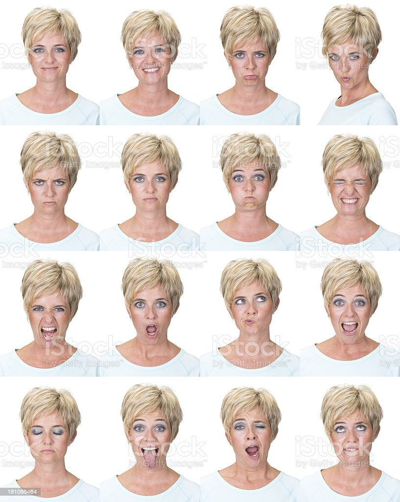 Expressive blonde short hair woman emotion set collection on white royalty-free stock photo