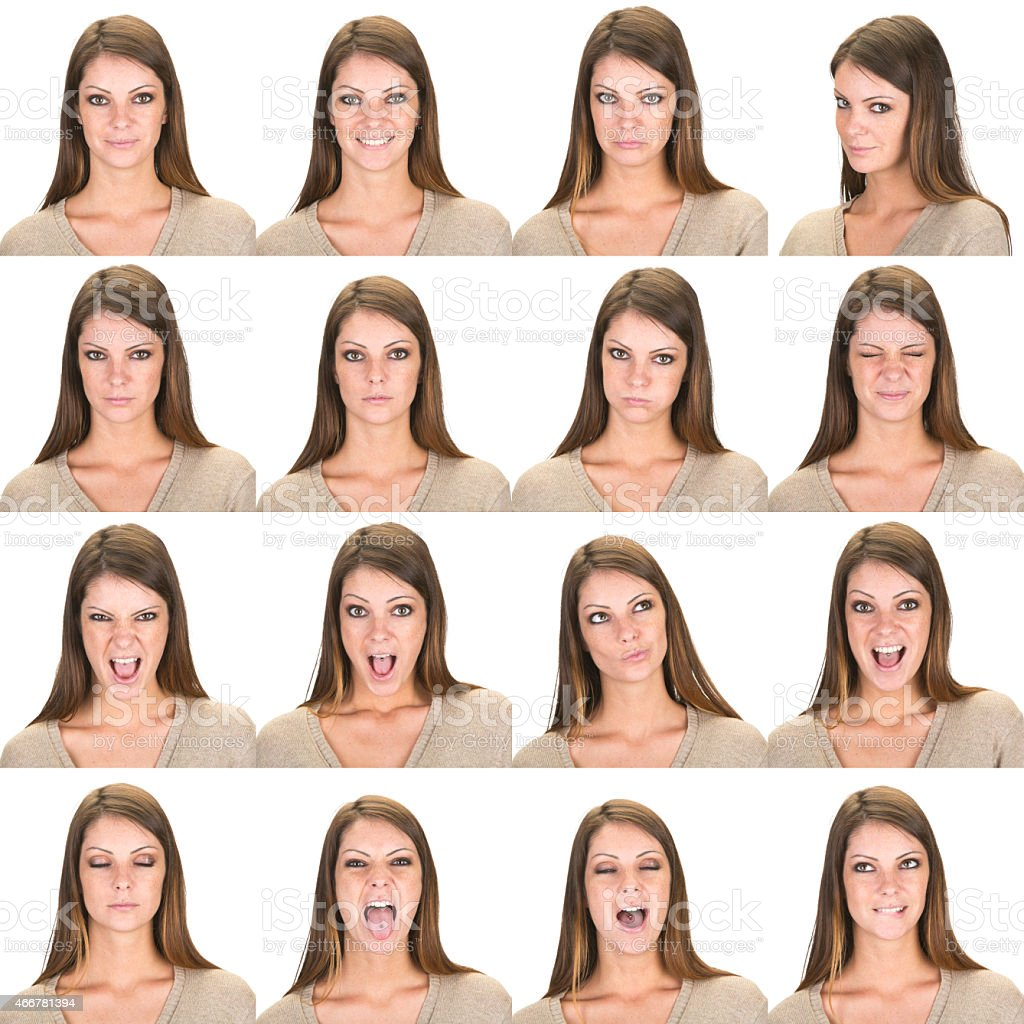 Expressive brown long straight hair woman set collection on white stock photo