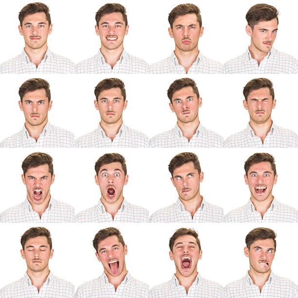 발랄 브라운 짧은 머리 남자 감정 세트 채취 인명별 - 시리즈 일부 뉴스 사진 이미지