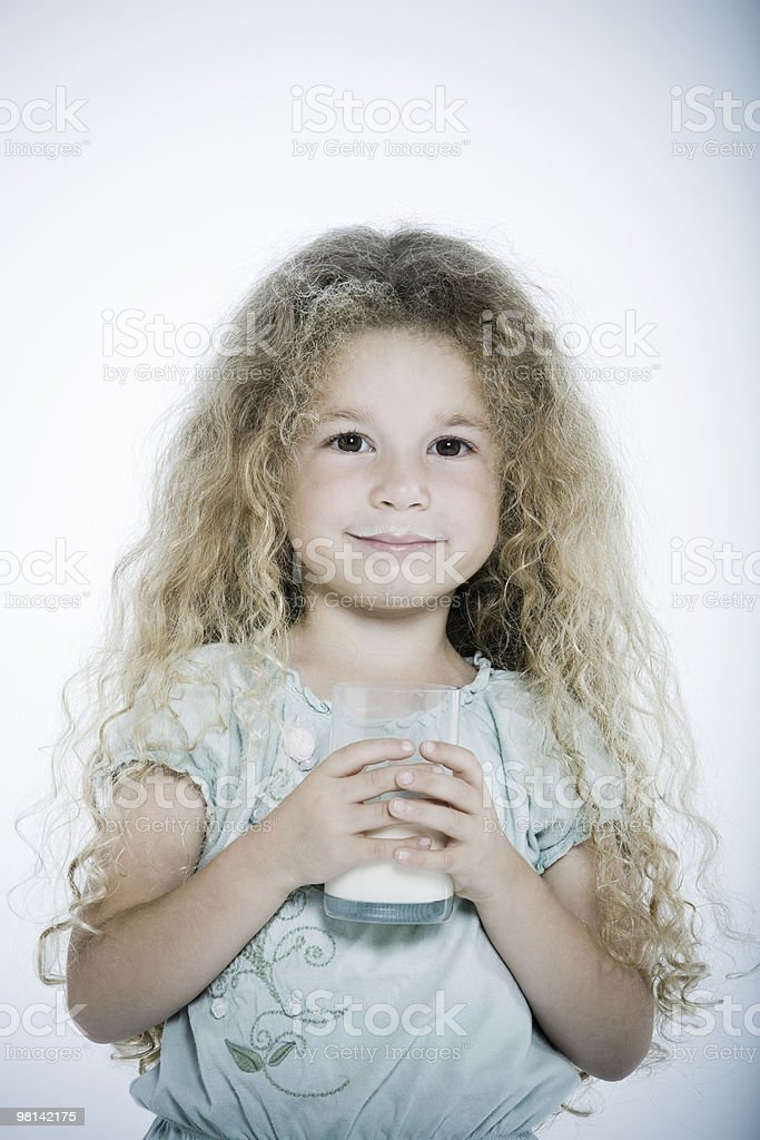Expressive Kid drinking milk royalty-free stock photo