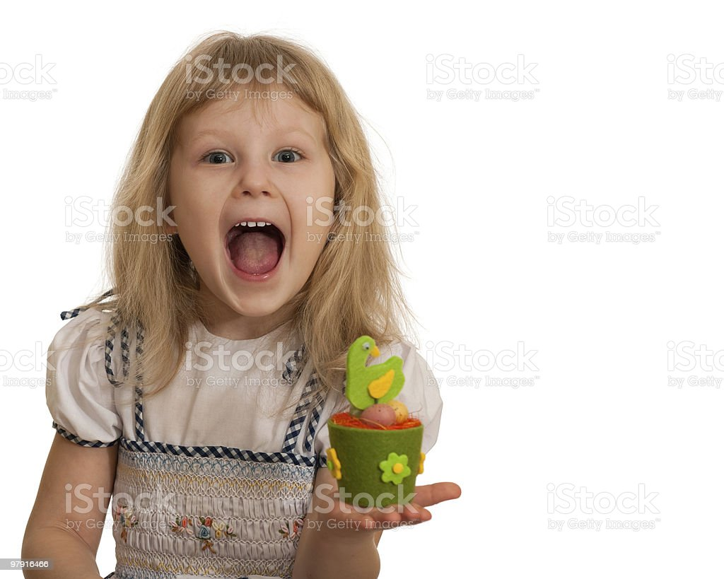 Expressive little girl with Easter toy royalty-free stock photo