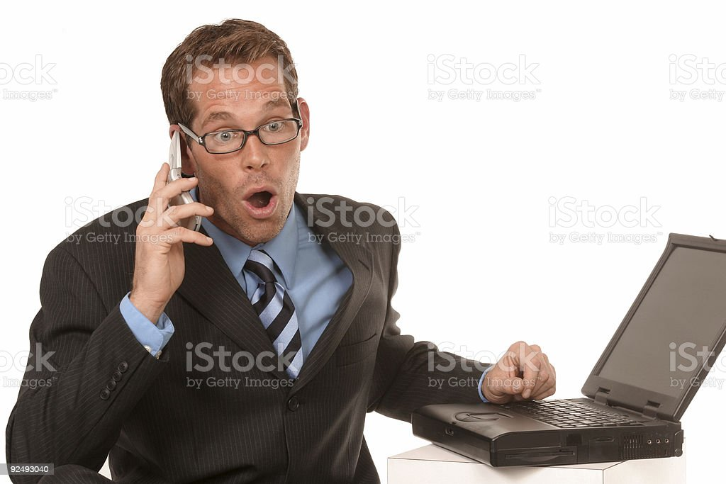 expressive man on his cell phone royalty-free stock photo