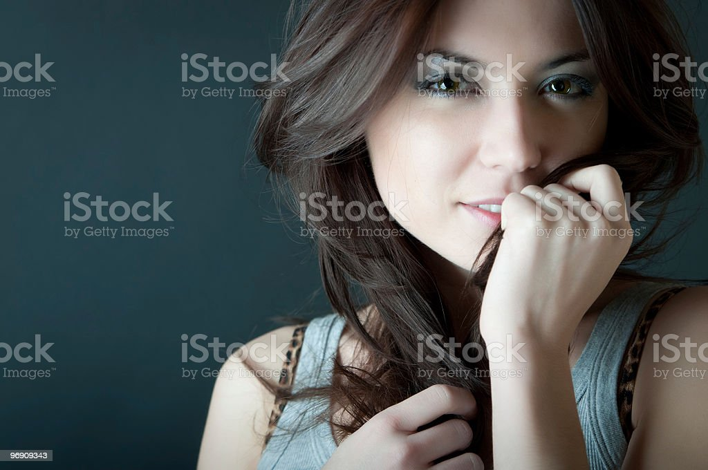 Expressive portrait of young woman royalty-free stock photo