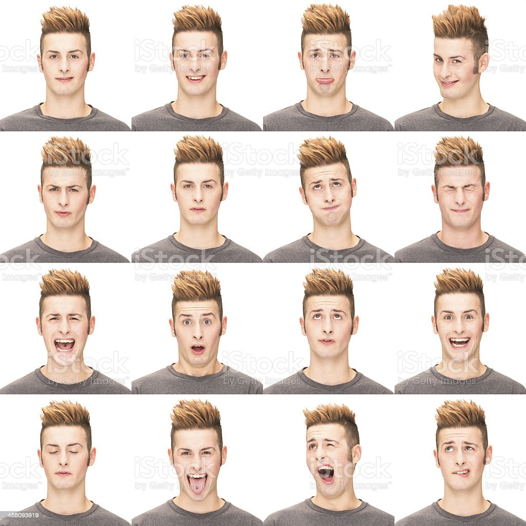 Expressive straight brown hair man emotion set collection on white royalty-free stock photo