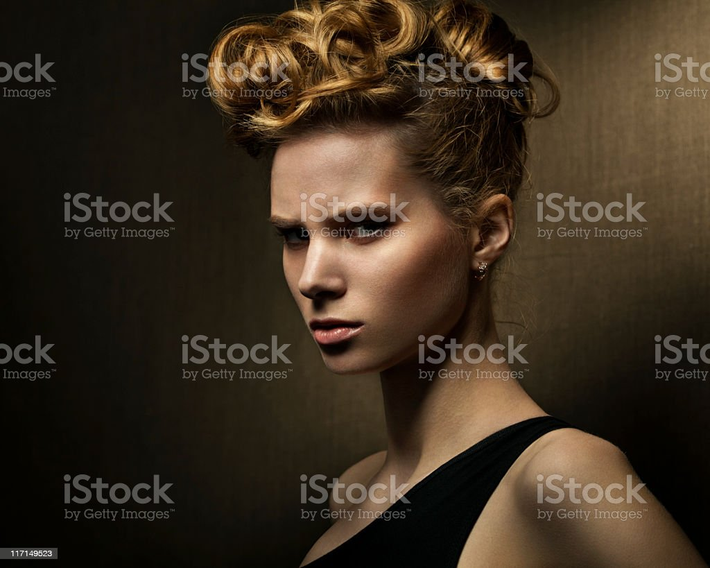 Expressive studio shot of young beautiful woman royalty-free stock photo