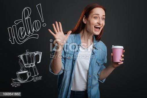 1003539592istockphoto Expressive woman feeling exited while noticing her friend in a cafe 1003541852