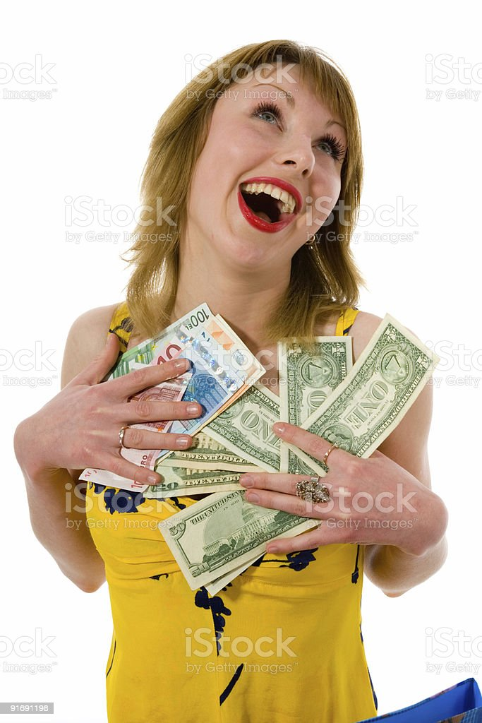 expressive woman shopping royalty-free stock photo