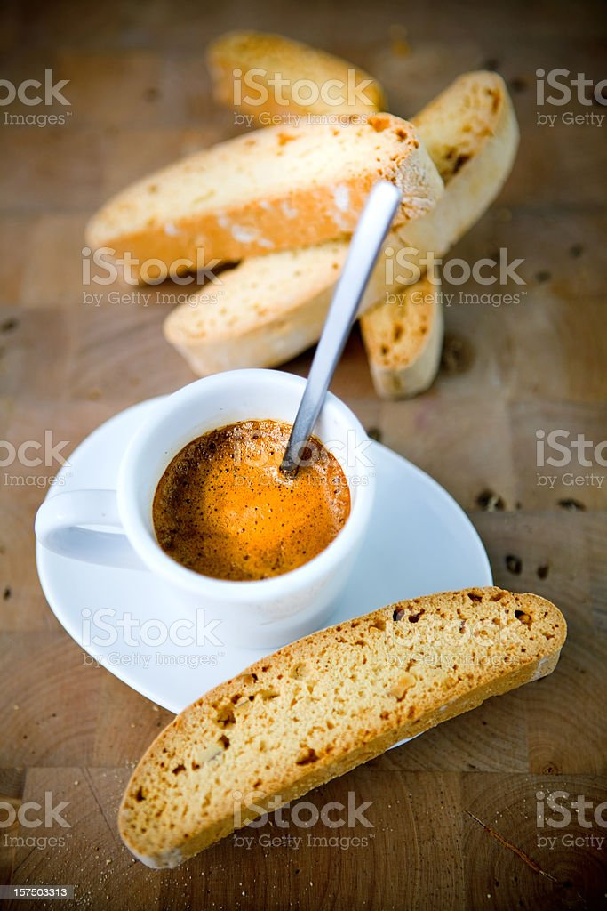 expresso coffee and biscotti royalty-free stock photo