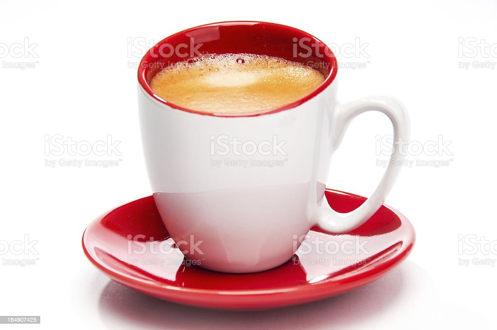 Expresso in red and white cup close up royalty-free stock photo