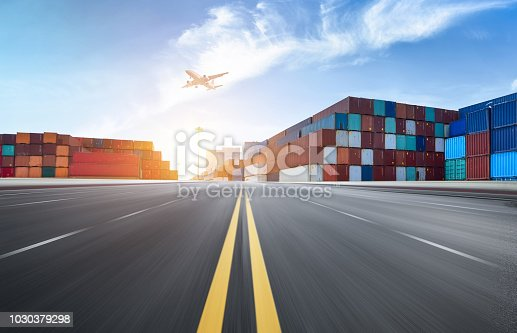 istock Expressway and container terminal 1030379298