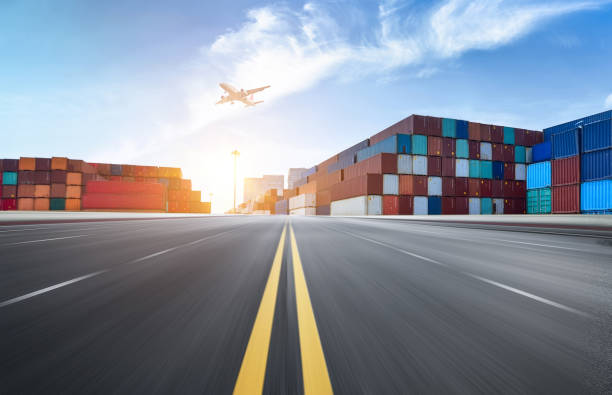 Expressway and container terminal stock photo