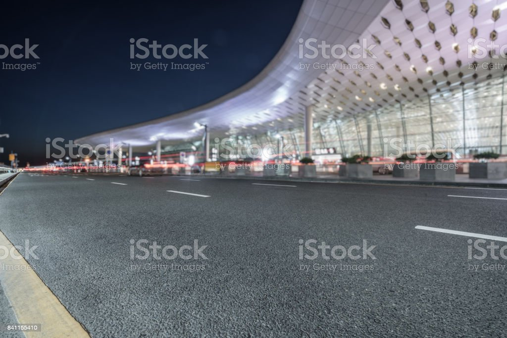 expressway of shenzhen baoan airport at night stock photo