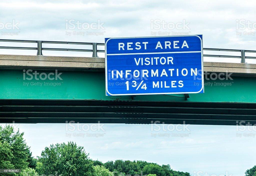 Expressway REST AREA Bridge Overpass Road Sign stock photo