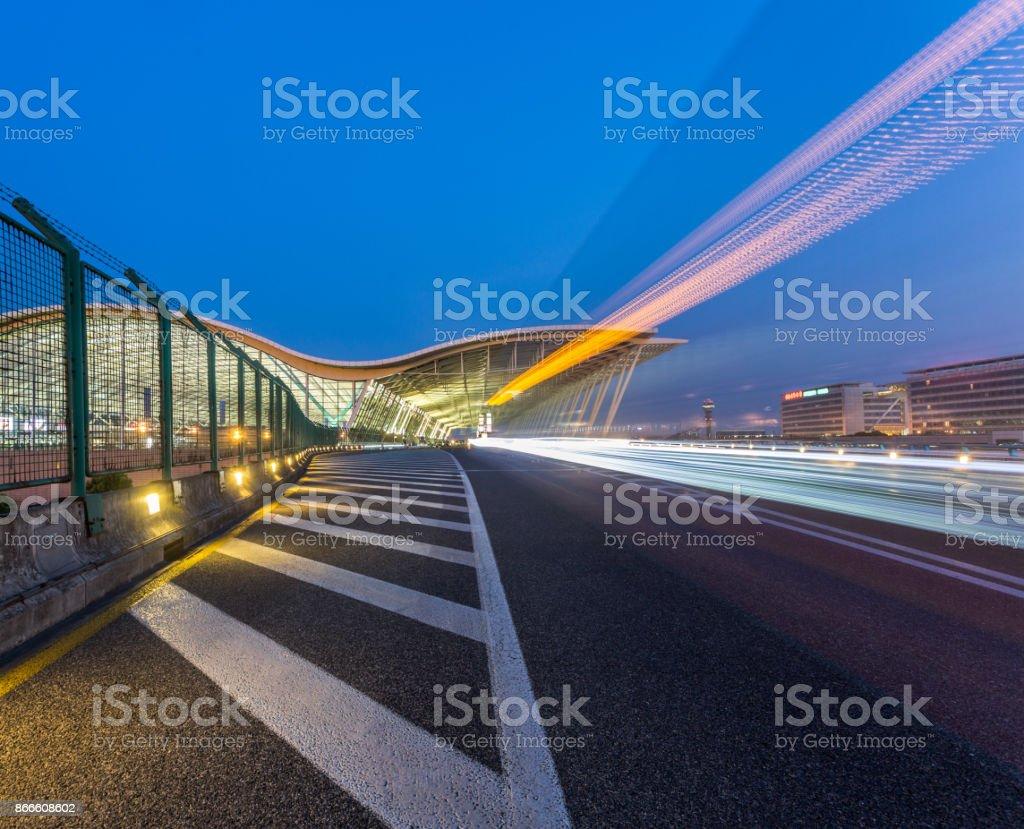 expressway to airport stock photo