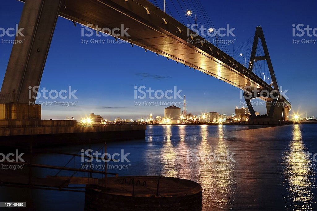Expressway which runs over sea at daybreak. royalty-free stock photo