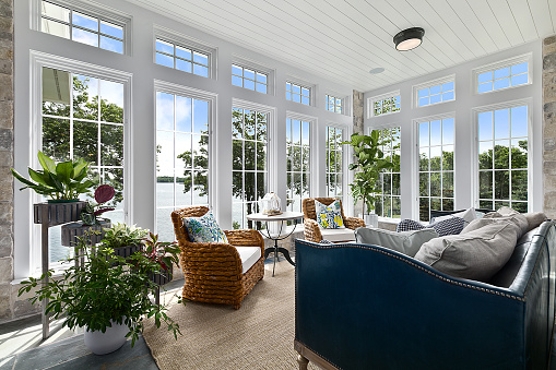 Exquisite custom windows throughout this great family room