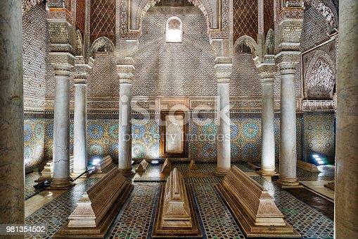 Exquisite tilework detail in Moroccan mausoleum