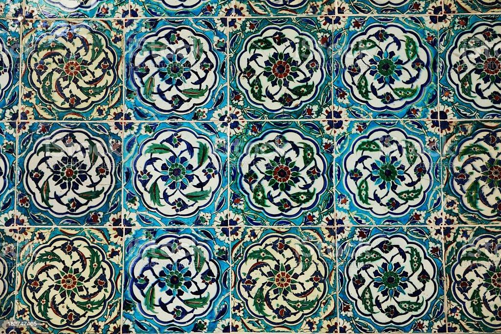 Exquisitely Hand Painted Ceramics Tiles Topkapi Palace royalty-free stock photo