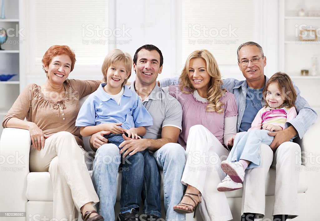 Extended family enjoying at home. royalty-free stock photo