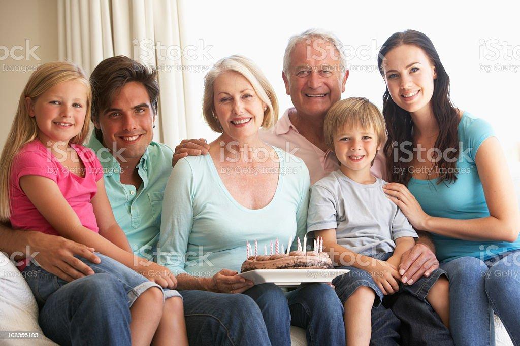 Extended Family Group Celebrating Birthday royalty-free stock photo