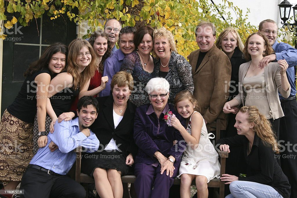 Extended Family Group Fun stock photo