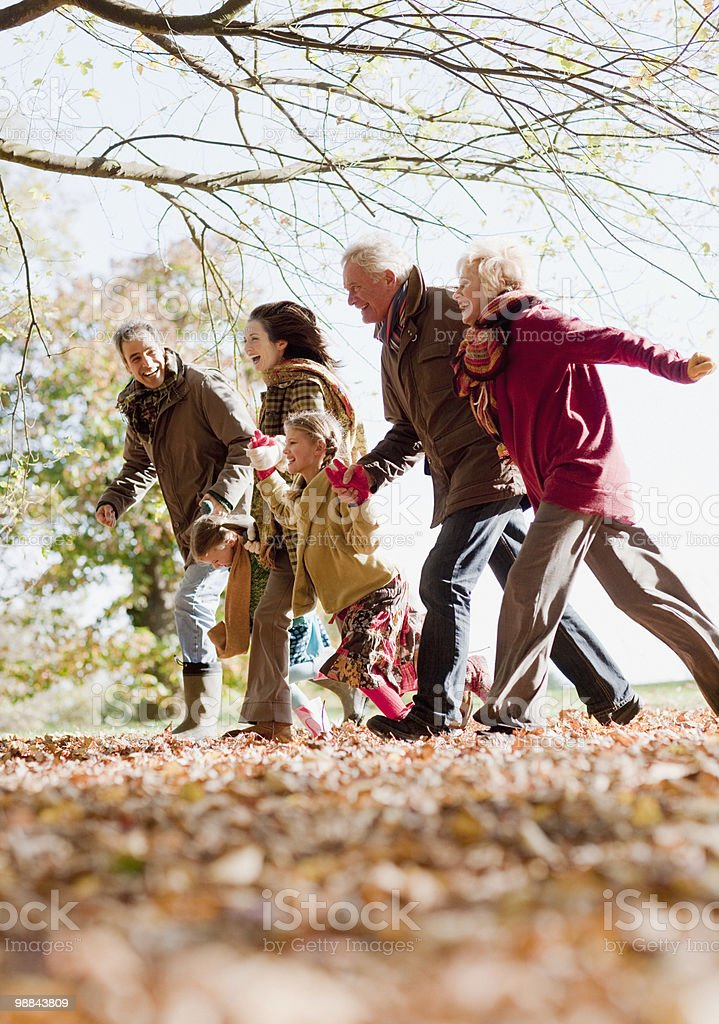 Extended family running in park royalty free stockfoto