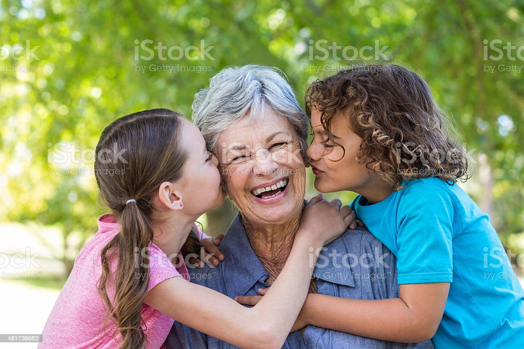 Extended family smiling and kissing in a park stock photo