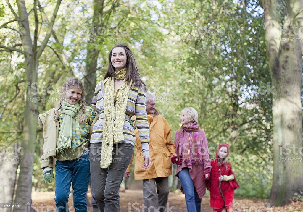 Extended family walking outdoors in autumn royalty-free stock photo