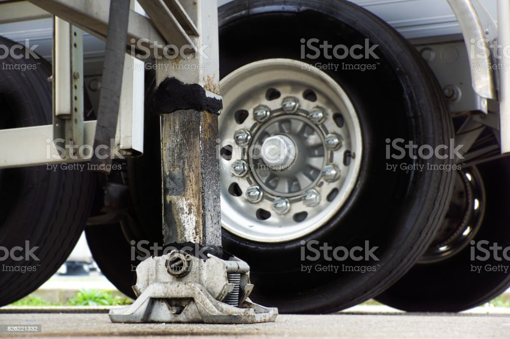 Extended side truck outrigger stabilizer. Support to mobile telescopic crane. stock photo