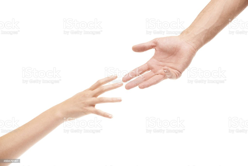 Extending a helping hand stock photo