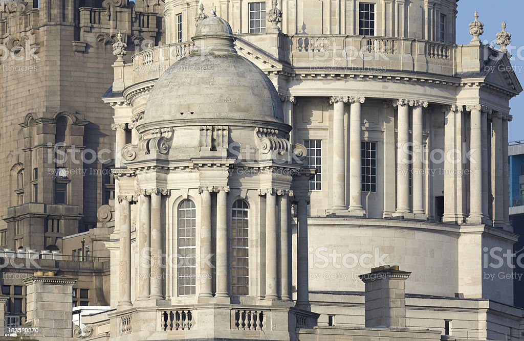 Exterior and dome of Cunard Building, Pier Head, Liverpool royalty-free stock photo