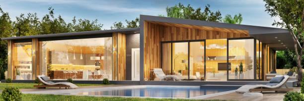 exterieur und interieur-design ein modernes haus mit pool - vorgarten landschaftsbau stock-fotos und bilder