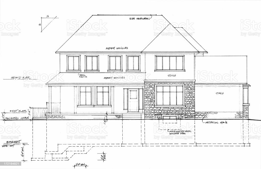 Exterior blueprint stock photo more pictures of architecture blueprint house model home residential building architecture malvernweather Images
