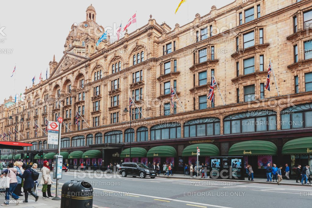 Exterior building of Harrods, the luxury department store dedicated to the finest products in food, fashion, homeware and technology, located on Brompton Road in Knightsbridge, London stock photo
