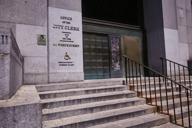 Exterior building of NYC Marriage Bureau stock photo