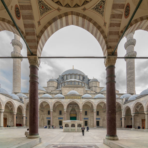 Exterior day shot of Suleymaniye Mosque, an Ottoman imperial mosque located on the Third Hill of Istanbul, Turkey, and the second largest mosque in the city stock photo