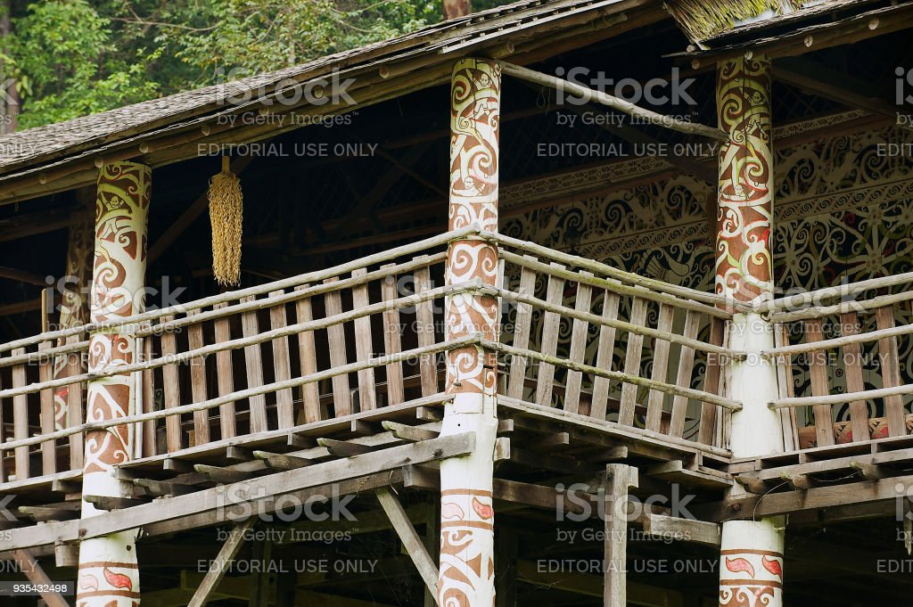 Exterior Detail Of The Typical Orang Ulu Tribal Long House At The
