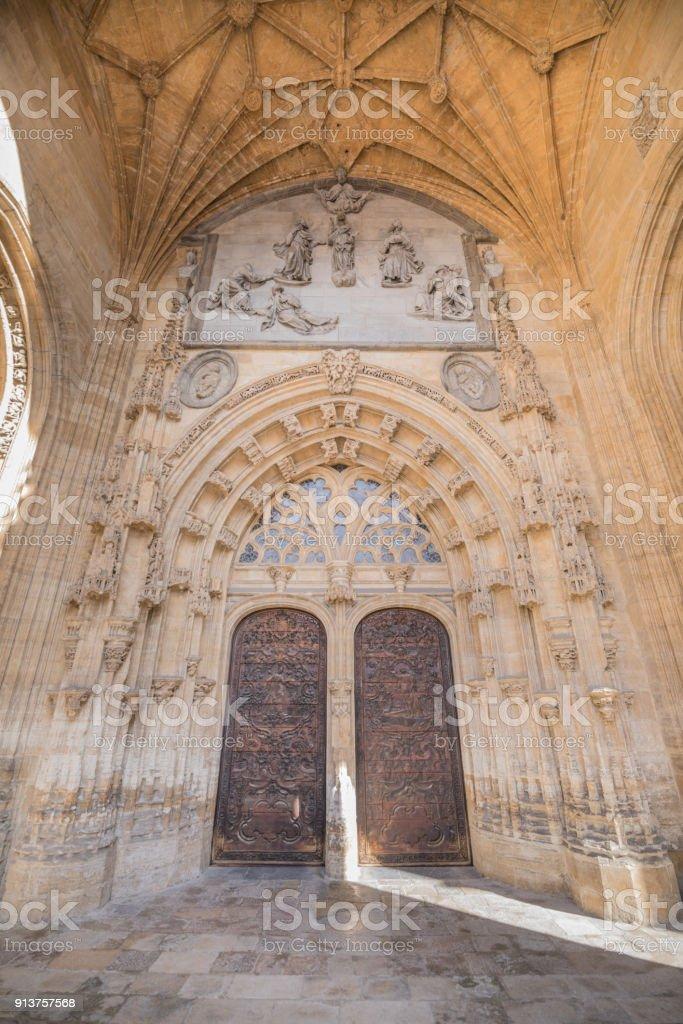 exterior double door in cathedral in Oviedo stock photo