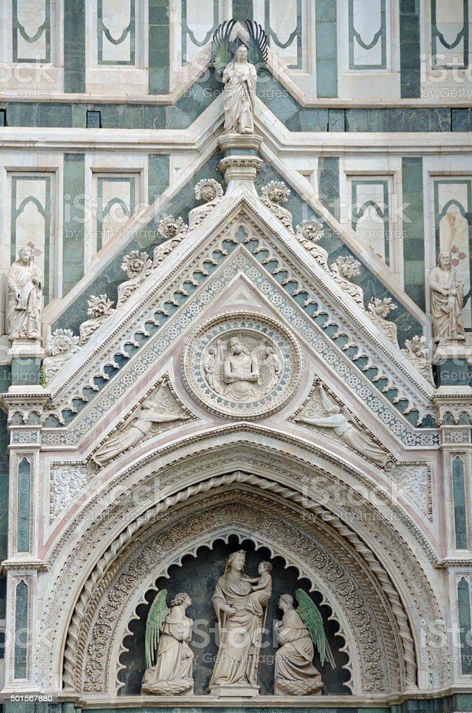 Exterior Facade of Duomo in Florence, Italy stock photo