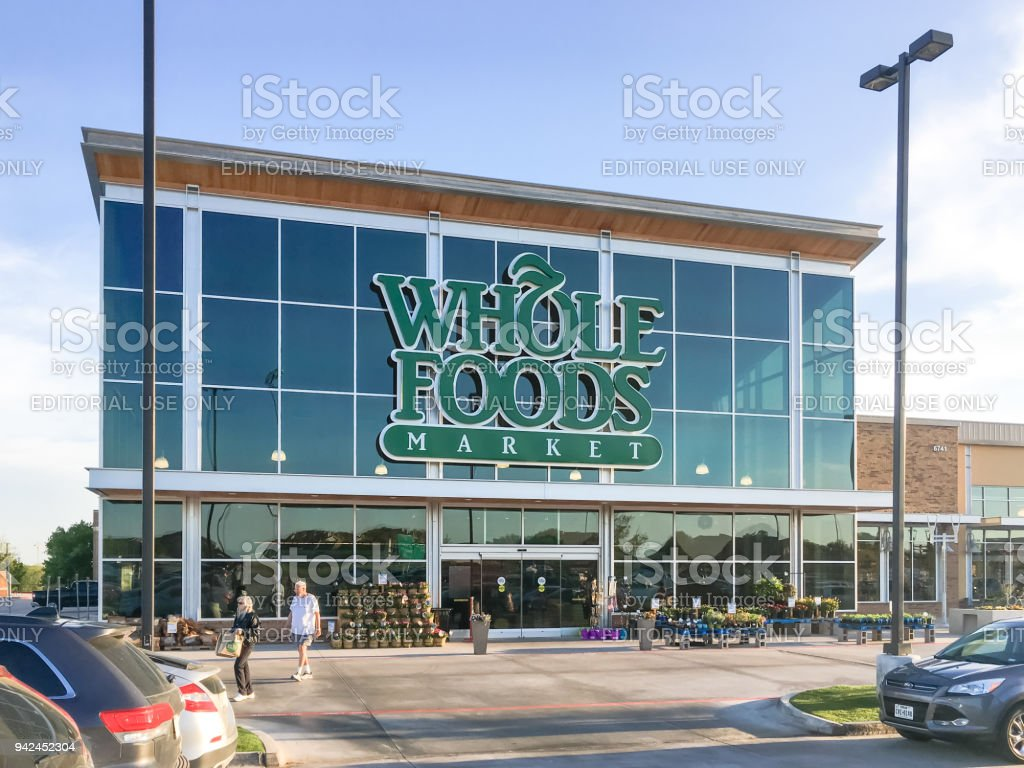 Exterior facade of Whole Foods Market store in Irving, Texas, USA stock photo