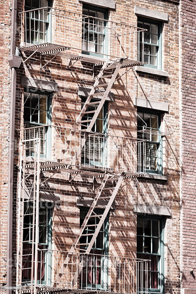 Exterior fire escapes royalty-free stock photo