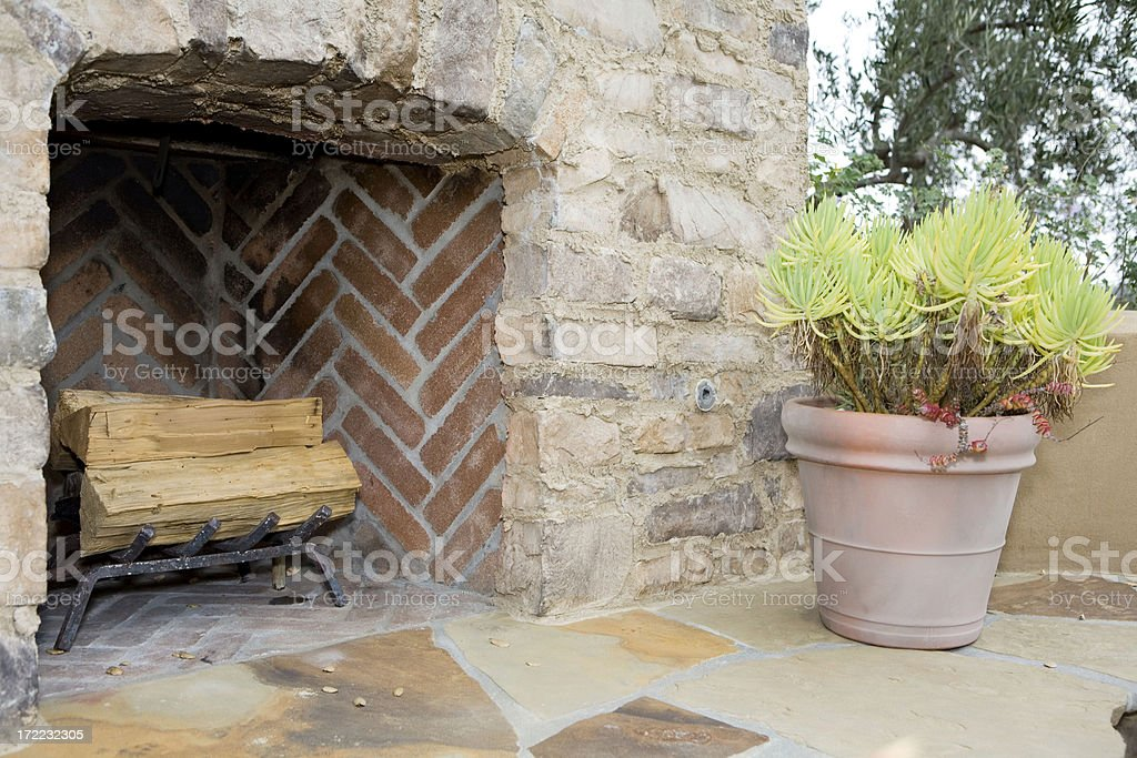 Exterior Fireplace royalty-free stock photo