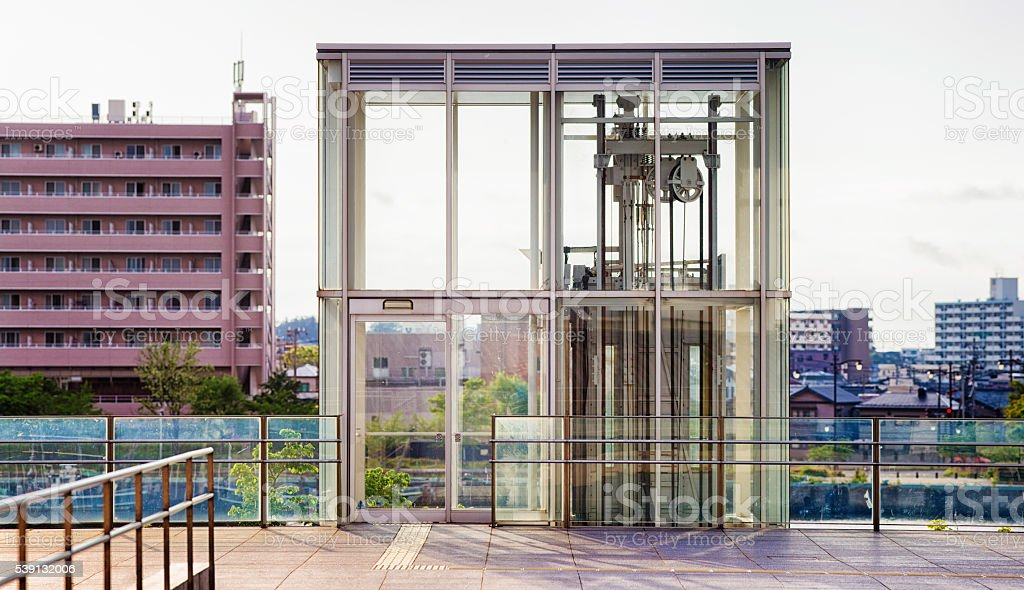 Exterior Glass Elevator Booth Panorama Stock Photo More Pictures Of Accessibility Istock