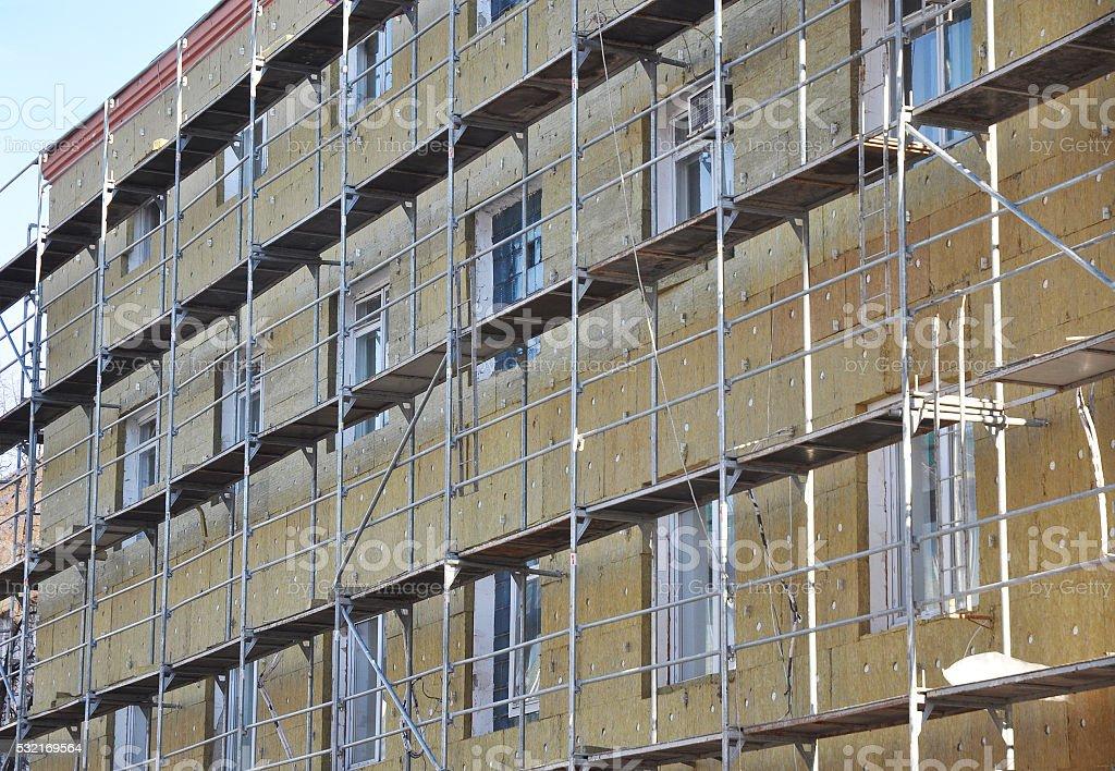 Exterior house wall heat insulation. stock photo