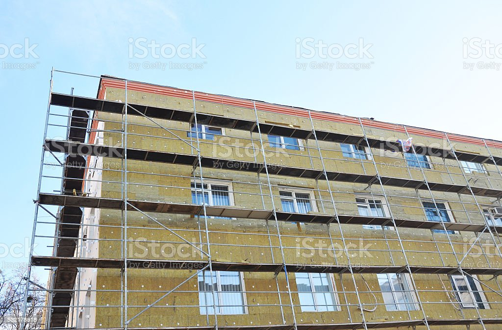Exterior house wall heat insulation with mineral wool outdoor stock photo