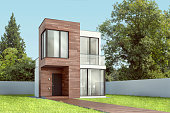 Exterior modern small square house with wooden planks on a white background. 3D illustration