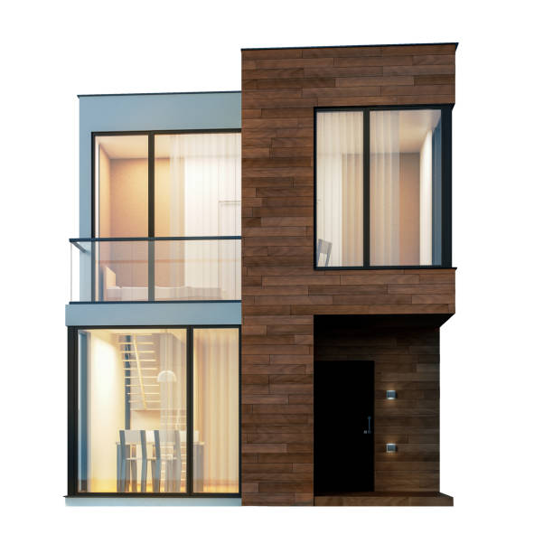 exterior modern small square house with wooden planks on a white background. 3d illustration - isolated house, exterior imagens e fotografias de stock