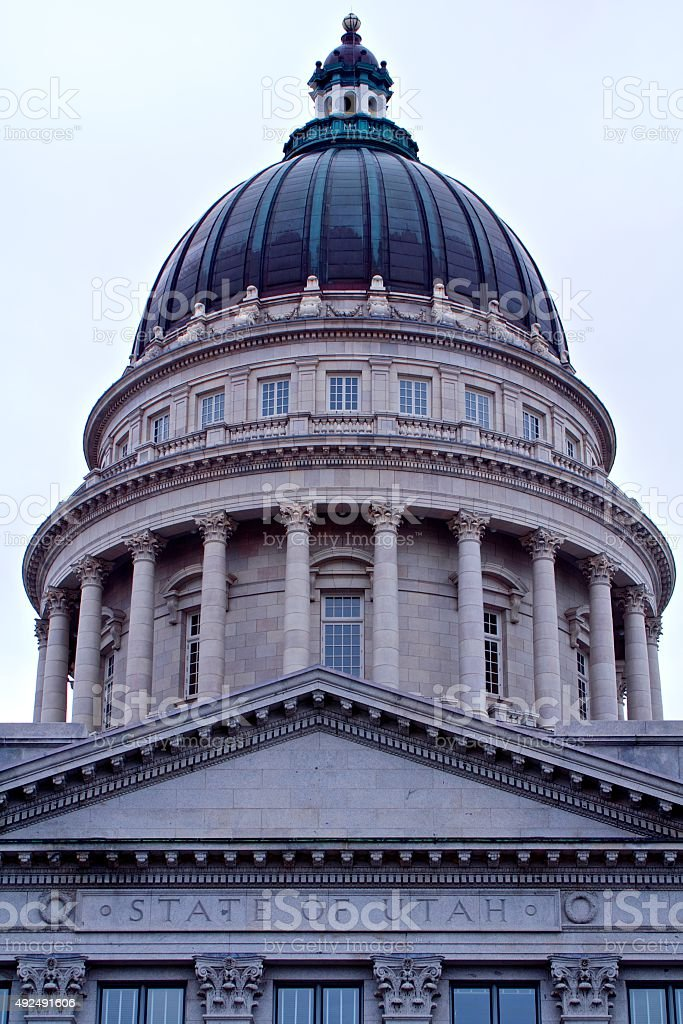 Exterior Neoclassical Dome of the Salt Lake City State Capital stock photo