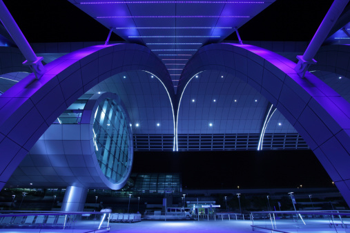 Exterior Night Shot Of Dubai International Airport Stock Photo - Download Image Now