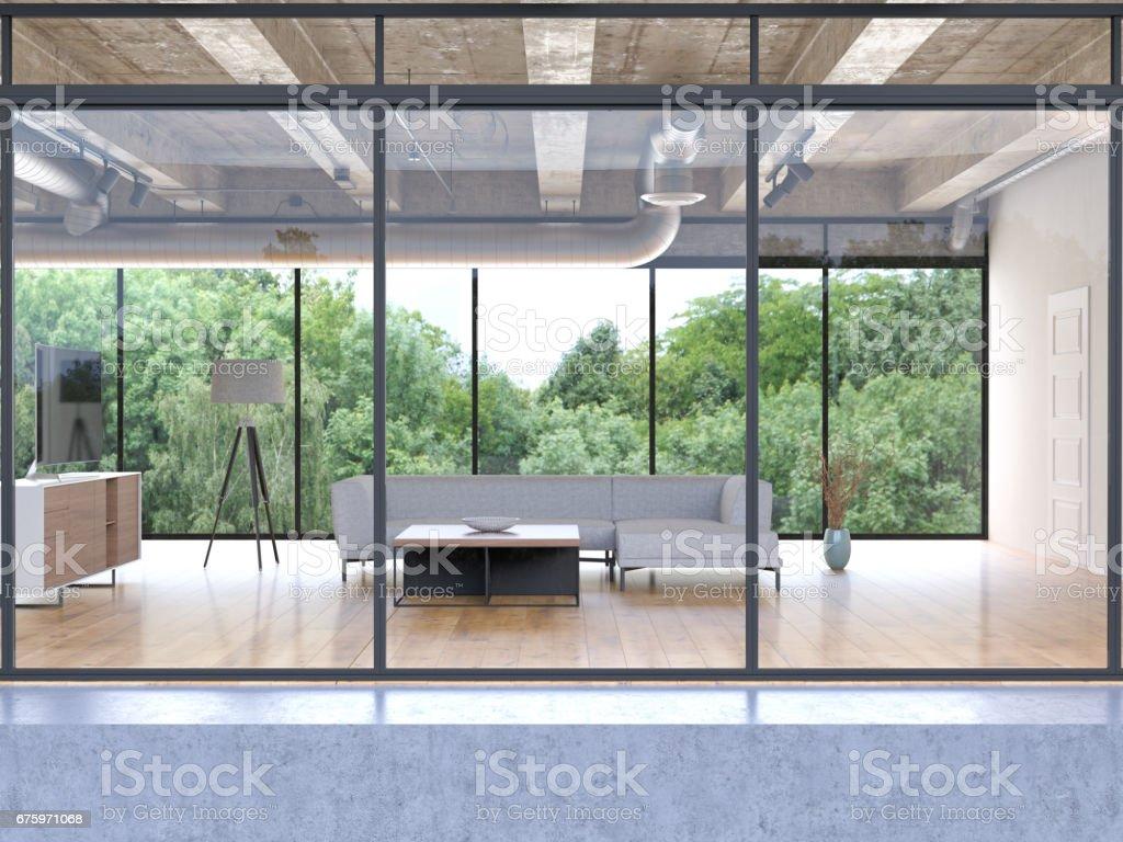 Exterior of a build livingroom building stock photo